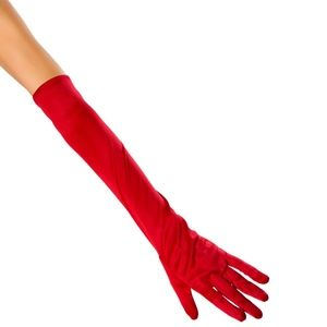 Red Stretch Satin Gloves Mid Arm Elbow Length